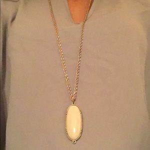 White oval gold plated necklace